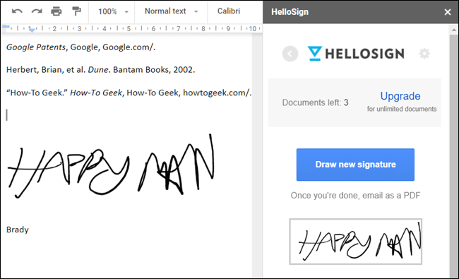 HelloSign add-on