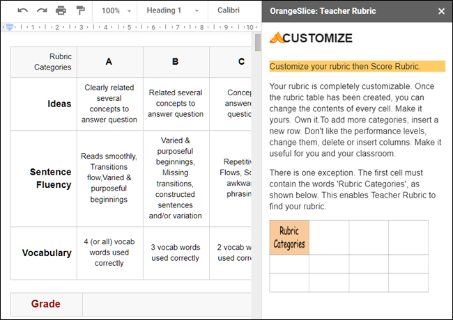 Orange Slice: Teacher Rubric add-on