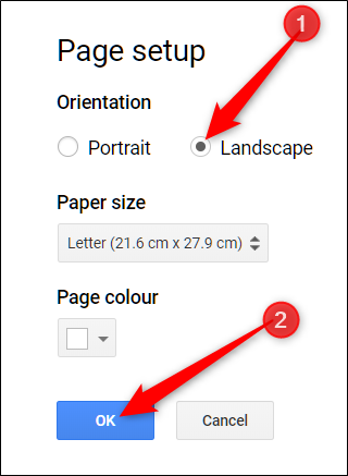 choose an orientation options and click OK