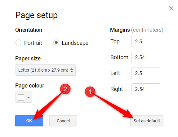optionally, click the set as default button before clicking OK