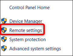 Click the remote settings option