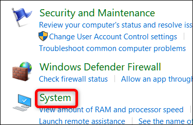 Click the System category