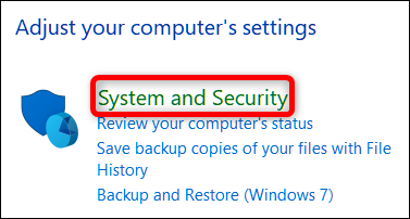 click the system and security category