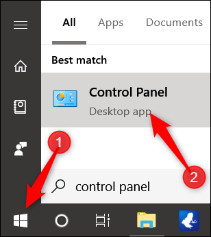 click Start, type control panel, click the result