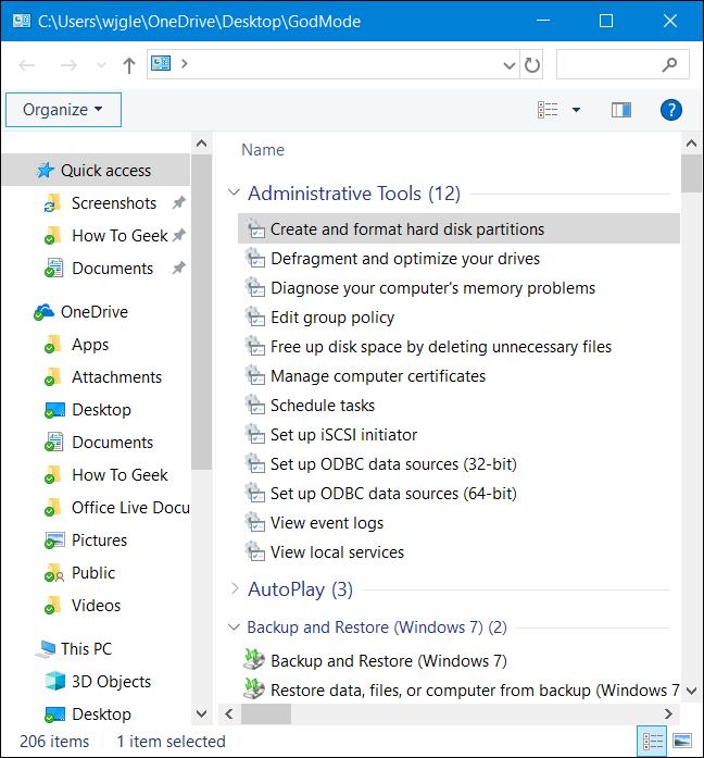 """File Explorer showing tools in the """"god mode"""" folder"""