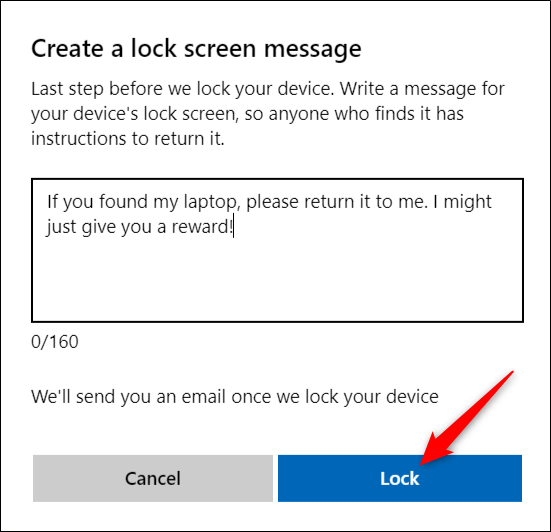Enter Lock Screen Message, Then Click Lock
