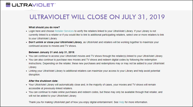 UltraViolet closure notice