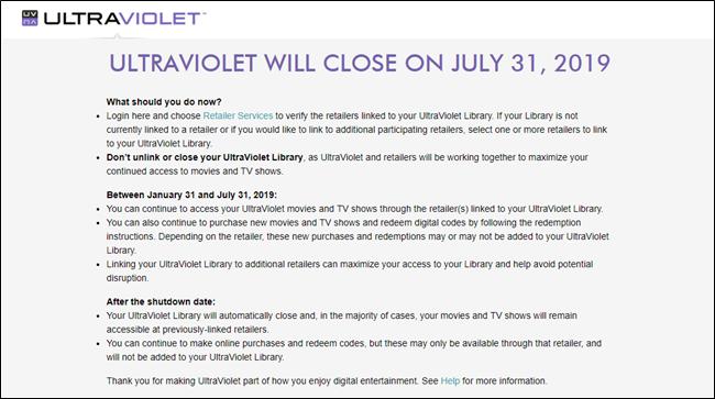 UltraViolet closure notice