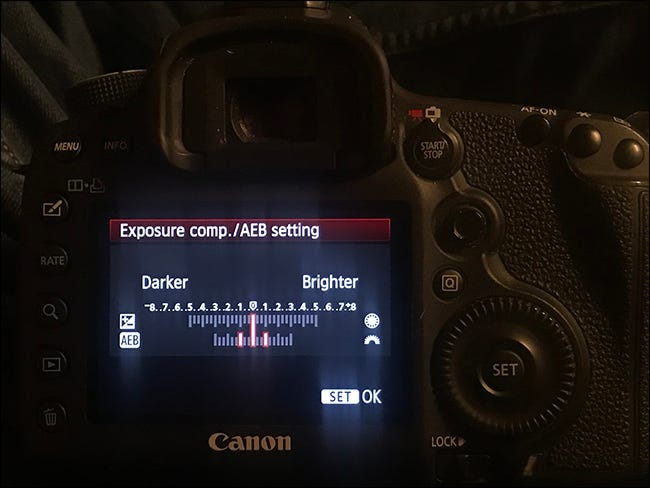Canon 5D Mark III display showing exposure compensation settings