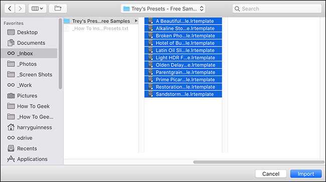locate the presets you want to install