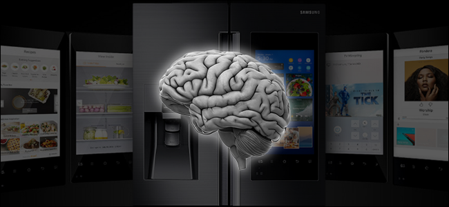 A brain hovering in front of a smart fridge