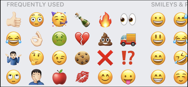 screenshot of frequently used emoji on iOS