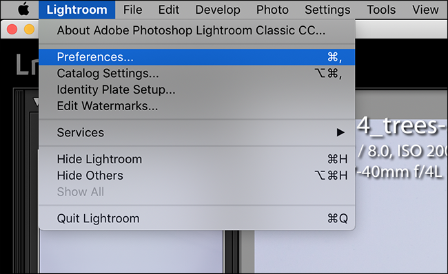 open the lightroom menu and click preferences