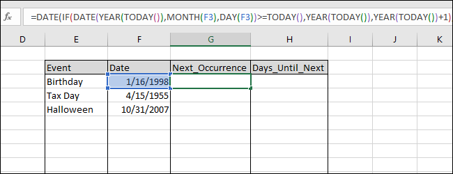 "Entering ""=DATE(IF(DATE(YEAR(TODAY()),MONTH(F3),DAY(F3))>=TODAY(),YEAR(TODAY()),YEAR(TODAY())+1),MONTH(F3),DAY(F3))"" into cell F3"