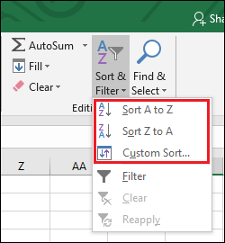 Sort & Filter menu showing sorting options