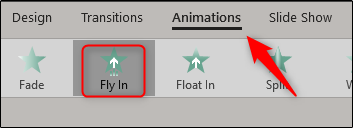 Fly In animation