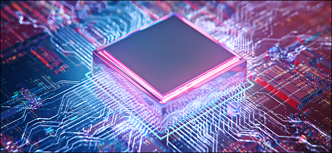 3D illustration of CPU against circuit board background