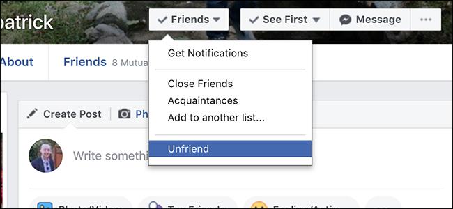 Unfriending on Facebook