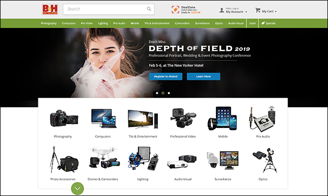 B&H Photo home page