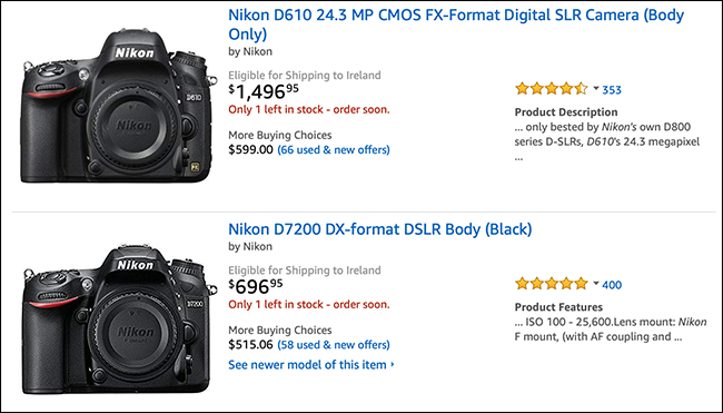 Amazon listing showing Nikon camera bodies