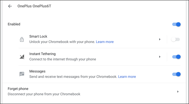 The Connected Devices menu on Chrome OS
