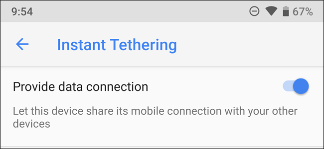 Instant Tethering menu on an Android phone