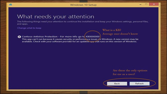 Windows Setup dialog with KB00000, back button and refresh button circled
