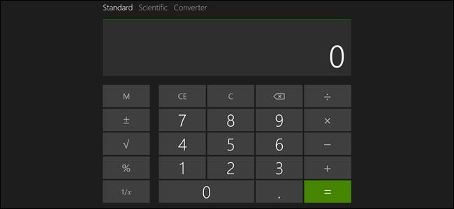 Windows calculator in full screen view