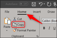copy in home tab