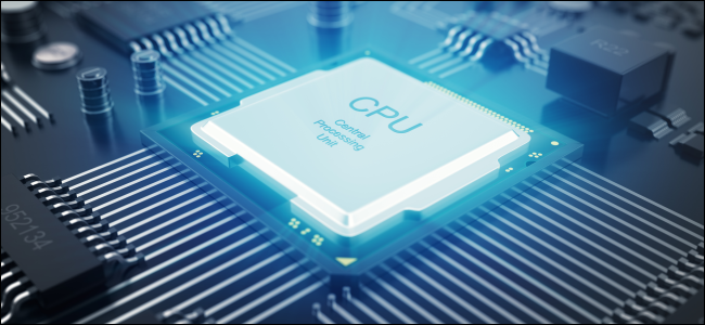 A stylized CPU on a motherboard