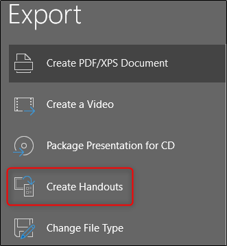 create handouts of powerpoint