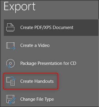 create handouts of powerpoint