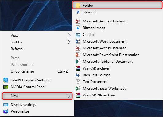 right-click desktop then select new > folder