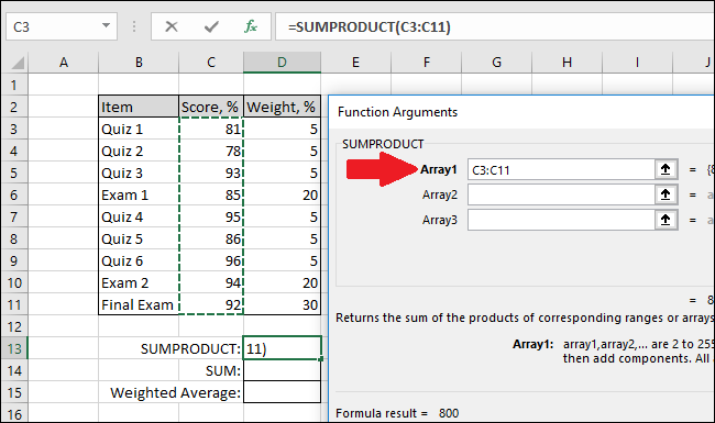 In the Array1 box, select the cells with the grades