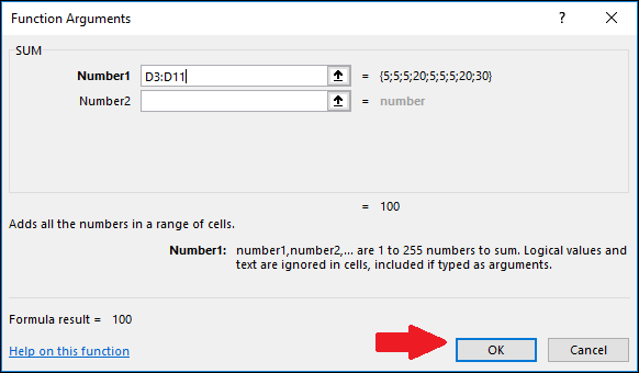 click OK in the Function Arguments window