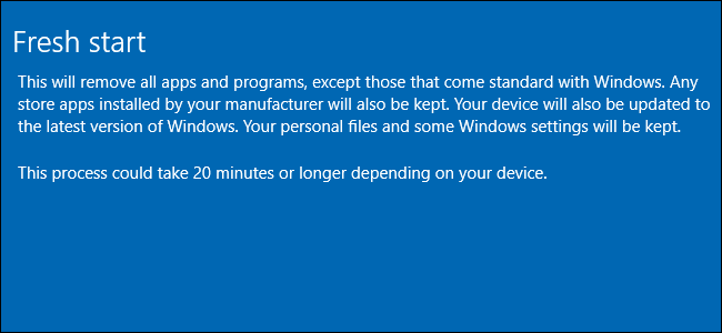 Fresh Start explanation screen