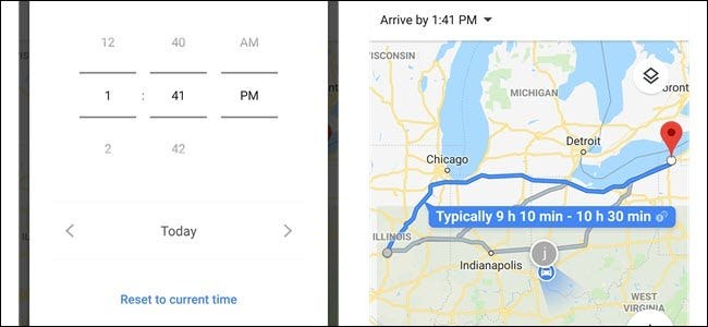 How to Set Departure and Arrival Times in Google Maps Gloogle Map on