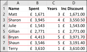 Excel formula with IF and AND functions