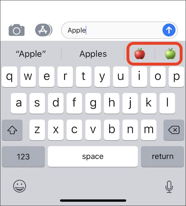 typing Apple causes apple emoji to show up on QuickType bar