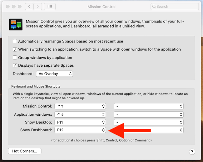 Select shortcut for invoking Dashboard