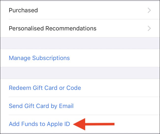 tap Add Funds to Apple ID