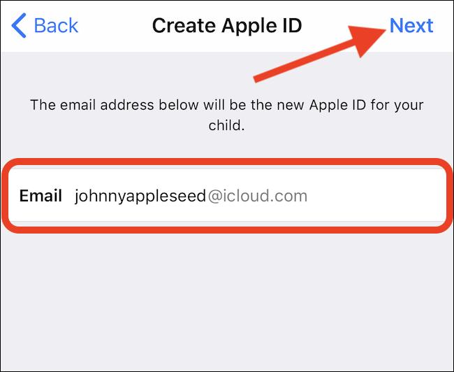 Enter an email address. Tap Next