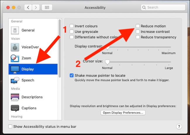 Click Display, click Reduce Motion