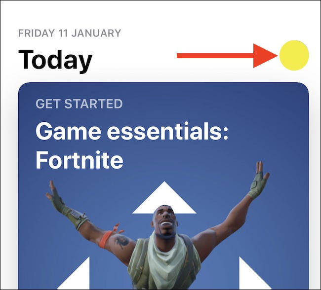 Tap your avatar in the Apple App Store app