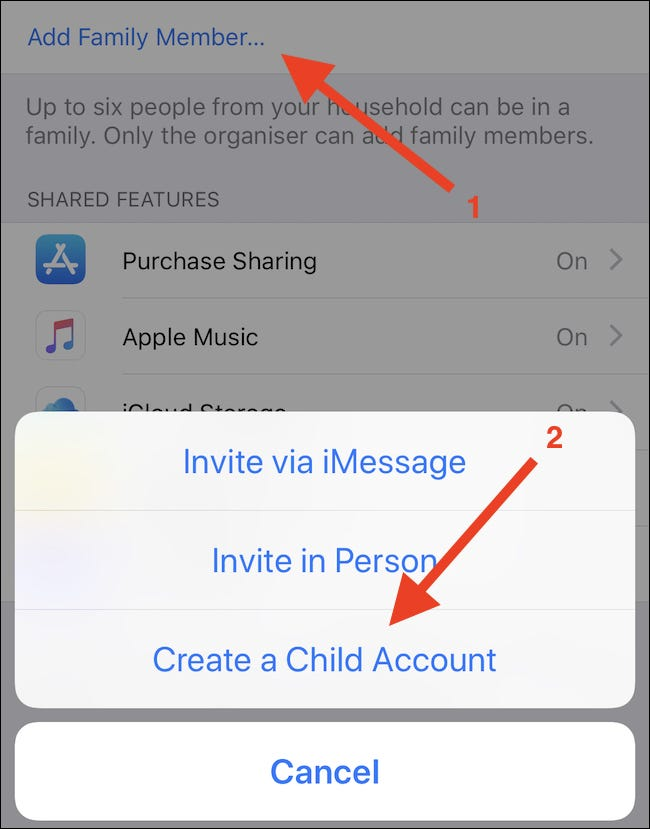 "Tap Add Family Member, followed by ""Create Child Account."""
