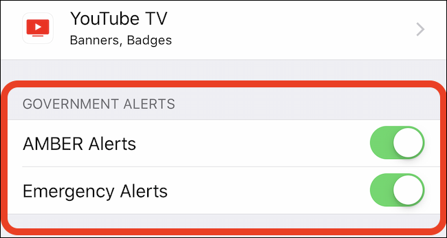 turn off toggles for AMBER alerts and emergency alerts