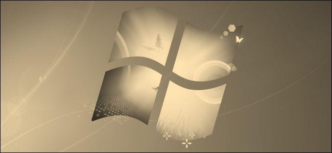 A sepia-toned Windows 7 desktop background logo.