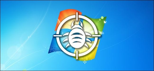 A bug icon superimposed over Windows 7's desktop