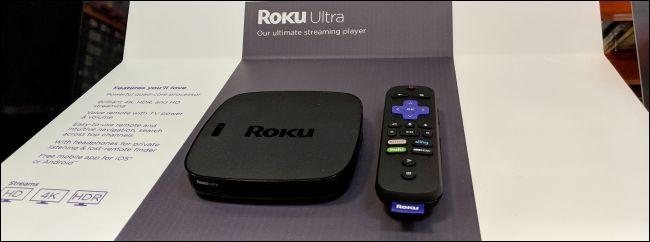 roku ultra and remote control on shelf