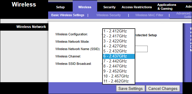 wi-fi router settings page showing 2.4 GHz channels
